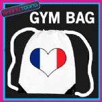 FRANCE FLAG HEART LOVE GYM DRAWSTRING WHITE GYMSAC BAG